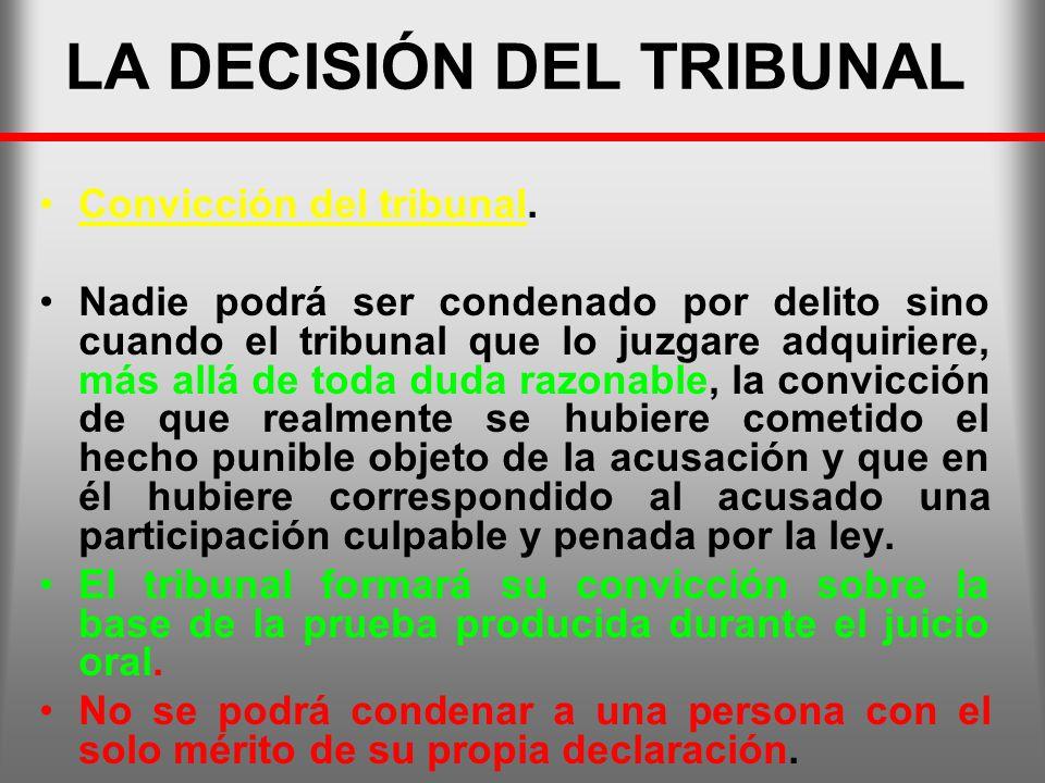 LA DECISIÓN DEL TRIBUNAL Convicción del tribunal. Nadie podrá ser condenado por delito sino cuando el tribunal que lo juzgare adquiriere, más allá de