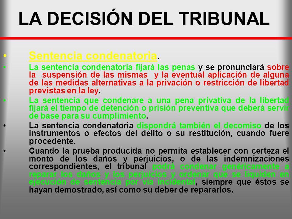 LA DECISIÓN DEL TRIBUNAL Sentencia condenatoria. La sentencia condenatoria fijará las penas y se pronunciará sobre la suspensión de las mismas y la ev