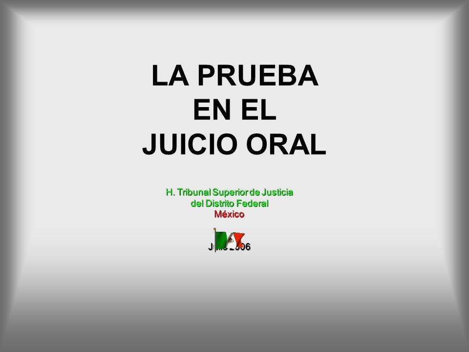 LA PRUEBA EN EL JUICIO ORAL H. Tribunal Superior de Justicia del Distrito Federal México Julio 2006