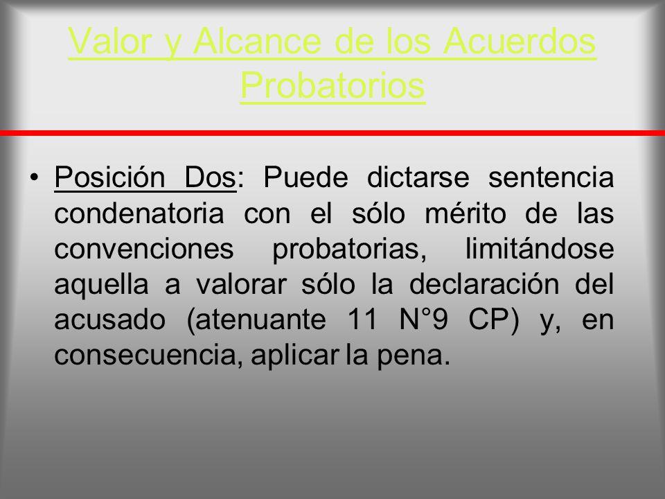 Valor y Alcance de los Acuerdos Probatorios Posición Dos: Puede dictarse sentencia condenatoria con el sólo mérito de las convenciones probatorias, li