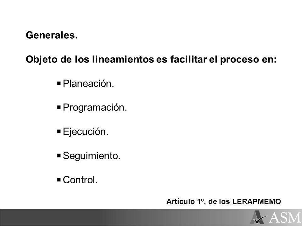 Generales. Objeto de los lineamientos es facilitar el proceso en: Planeación. Programación. Ejecución. Seguimiento. Control. Artículo 1º, de los LERAP