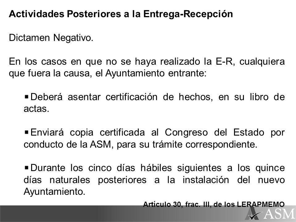 Actividades Posteriores a la Entrega-Recepción Dictamen Negativo.