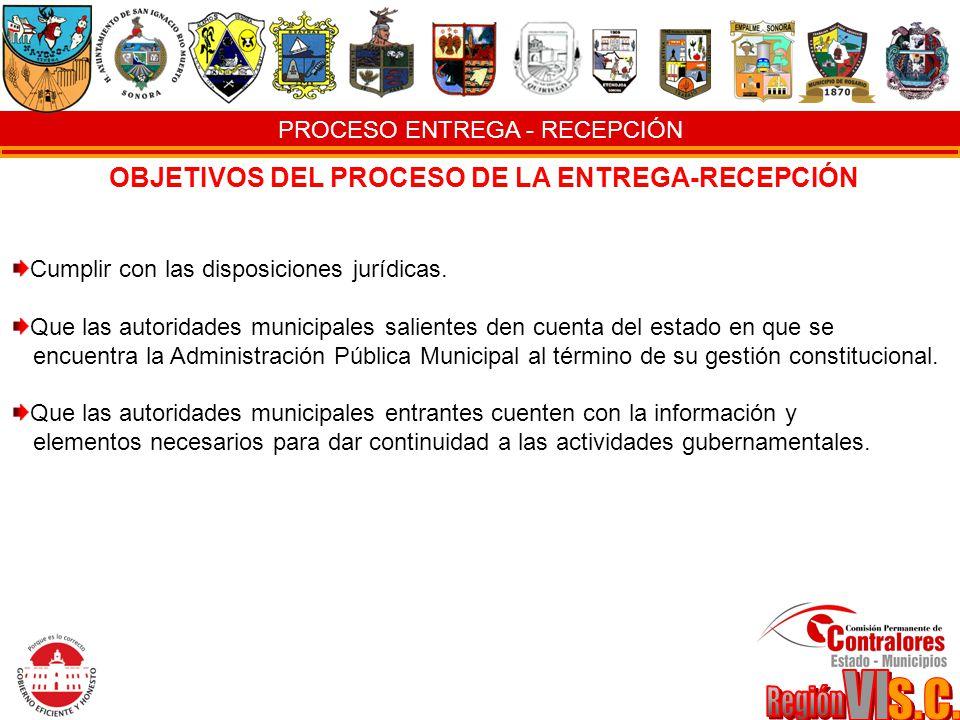 PROCESO ENTREGA - RECEPCIÓN OBJETIVOS DEL PROCESO DE LA ENTREGA-RECEPCIÓN Cumplir con las disposiciones jurídicas. Que las autoridades municipales sal