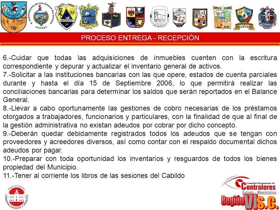 PROCESO ENTREGA - RECEPCIÓN 6.-Cuidar que todas las adquisiciones de inmuebles cuenten con la escritura correspondiente y depurar y actualizar el inve