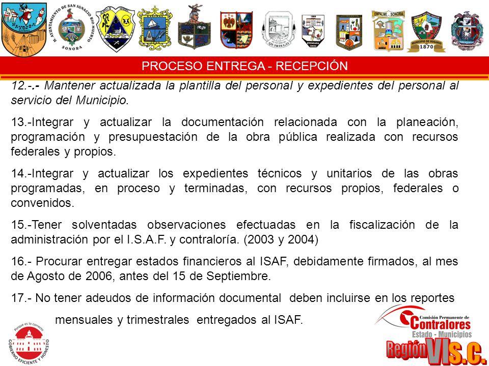 PROCESO ENTREGA - RECEPCIÓN 12.-.- Mantener actualizada la plantilla del personal y expedientes del personal al servicio del Municipio. 13.-Integrar y