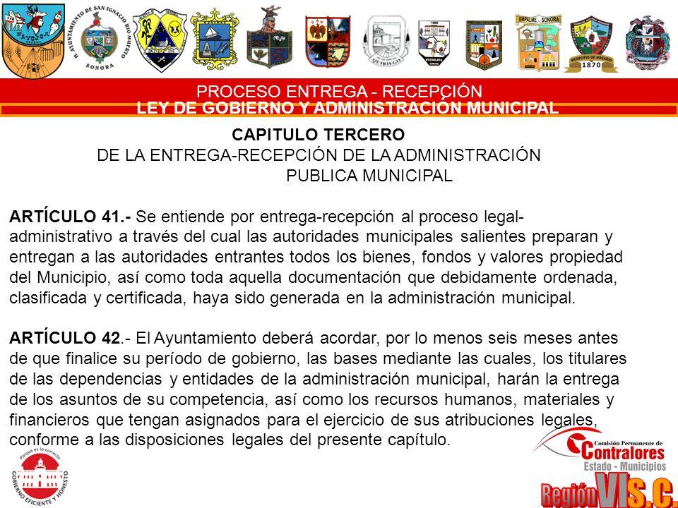 PROCESO ENTREGA - RECEPCIÓN LEY DE GOBIERNO Y ADMINISTRACIÓN MUNICIPAL CAPITULO TERCERO DE LA ENTREGA-RECEPCIÓN DE LA ADMINISTRACIÓN PUBLICA MUNICIPAL