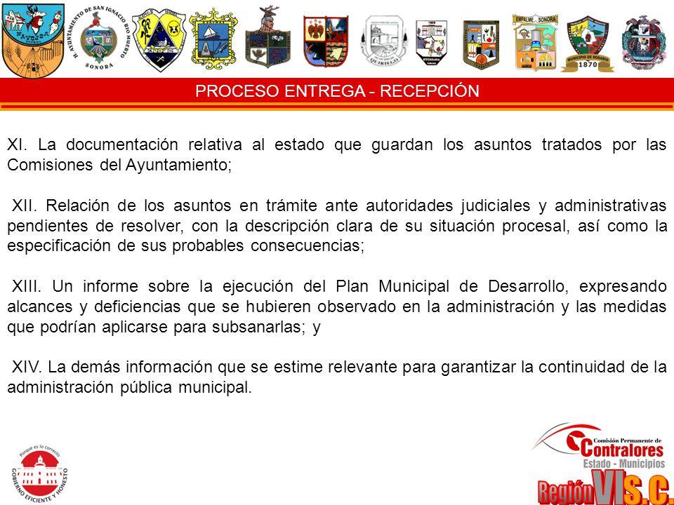 PROCESO ENTREGA - RECEPCIÓN XI. La documentación relativa al estado que guardan los asuntos tratados por las Comisiones del Ayuntamiento; XII. Relació