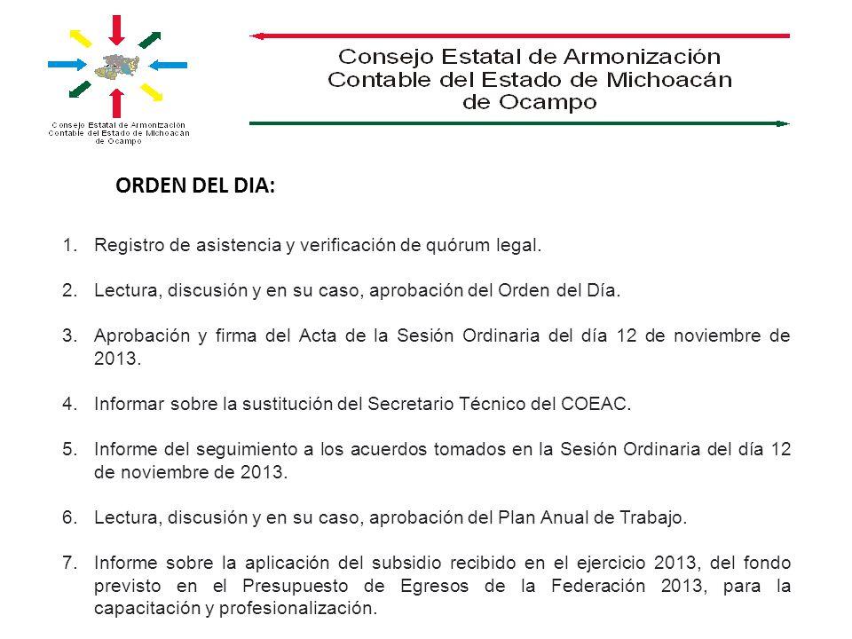 ORDEN DEL DIA: 1.Registro de asistencia y verificación de quórum legal. 2.Lectura, discusión y en su caso, aprobación del Orden del Día. 3.Aprobación
