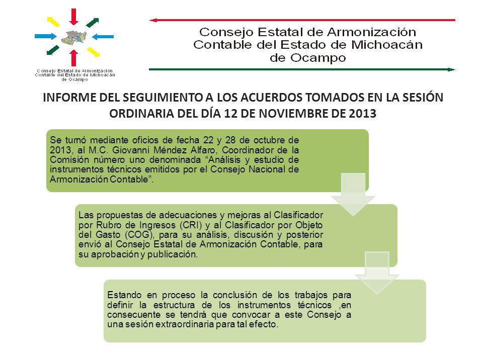 INFORME DEL SEGUIMIENTO A LOS ACUERDOS TOMADOS EN LA SESIÓN ORDINARIA DEL DÍA 12 DE NOVIEMBRE DE 2013 Se turnó mediante oficios de fecha 22 y 28 de octubre de 2013, al M.C.