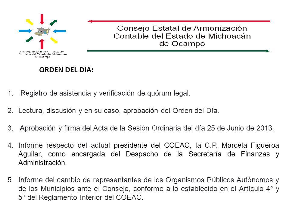 ORDEN DEL DIA: 1. Registro de asistencia y verificación de quórum legal. 2.Lectura, discusión y en su caso, aprobación del Orden del Día. 3. Aprobació