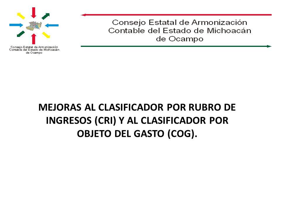 MEJORAS AL CLASIFICADOR POR RUBRO DE INGRESOS (CRI) Y AL CLASIFICADOR POR OBJETO DEL GASTO (COG).