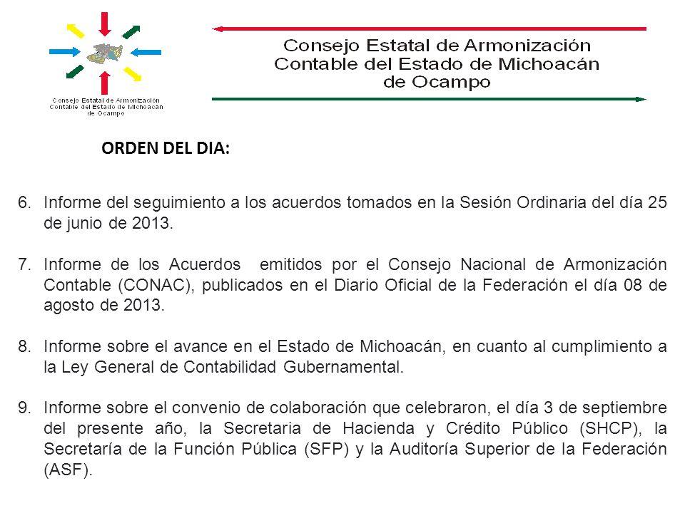 ORDEN DEL DIA: 6.Informe del seguimiento a los acuerdos tomados en la Sesión Ordinaria del día 25 de junio de 2013. 7.Informe de los Acuerdos emitidos