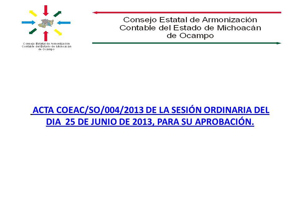 ACTA COEAC/SO/004/2013 DE LA SESIÓN ORDINARIA DEL DIA 25 DE JUNIO DE 2013, PARA SU APROBACIÓN.ACTA COEAC/SO/004/2013 DE LA SESIÓN ORDINARIA DEL DIA 25 DE JUNIO DE 2013, PARA SU APROBACIÓN.