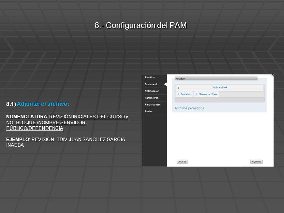 8.2) Mensaje de Notificación: Solicitud de revisión de cursos 8.- Configuración del PAM