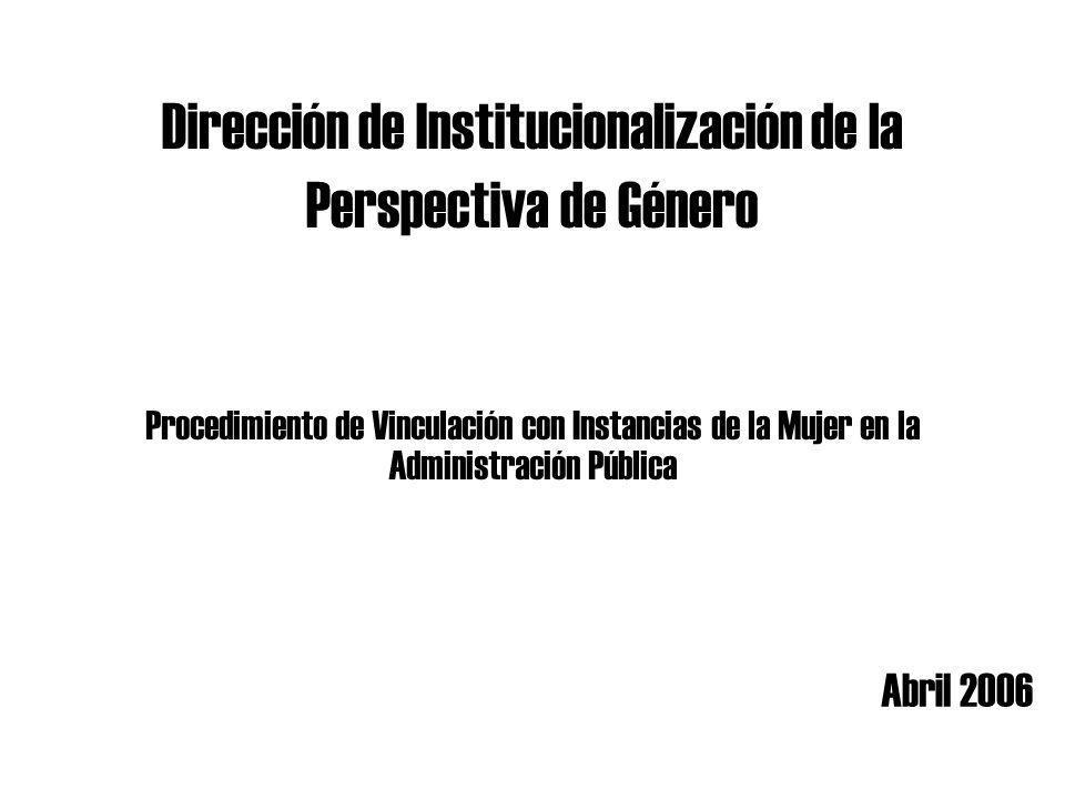 Dirección de Institucionalización de la Perspectiva de Género Abril 2006 Procedimiento de Vinculación con Instancias de la Mujer en la Administración Pública