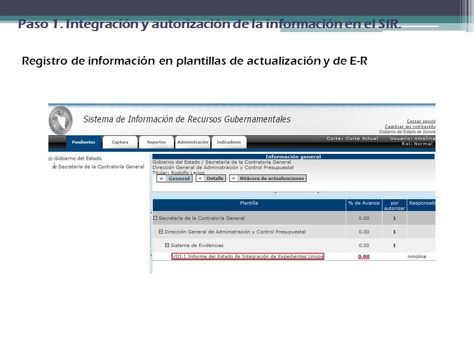 Registro de información en plantillas de actualización y de E-R
