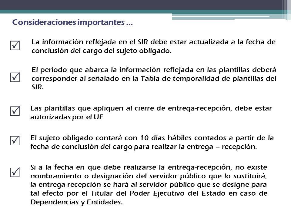 Consideraciones importantes... La información reflejada en el SIR debe estar actualizada a la fecha de conclusión del cargo del sujeto obligado. El pe