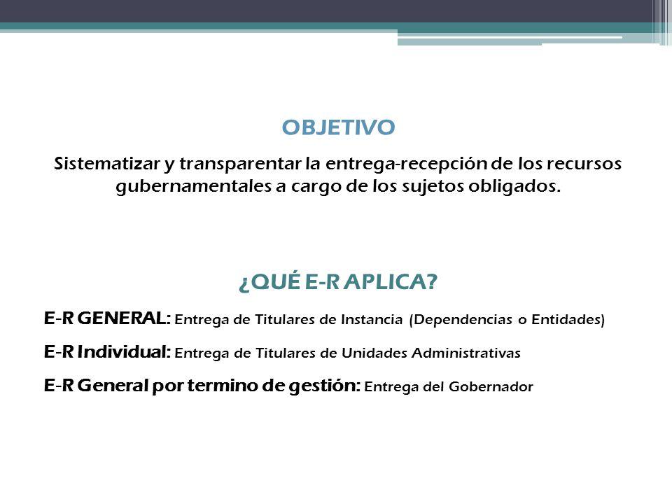 ¿QUÉ E-R APLICA? E-R GENERAL: Entrega de Titulares de Instancia (Dependencias o Entidades) E-R Individual: Entrega de Titulares de Unidades Administra