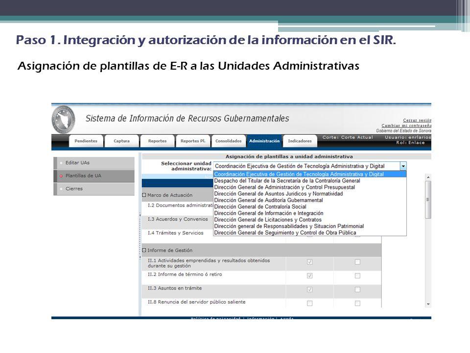 Asignación de plantillas de E-R a las Unidades Administrativas Paso 1. Integración y autorización de la información en el SIR.