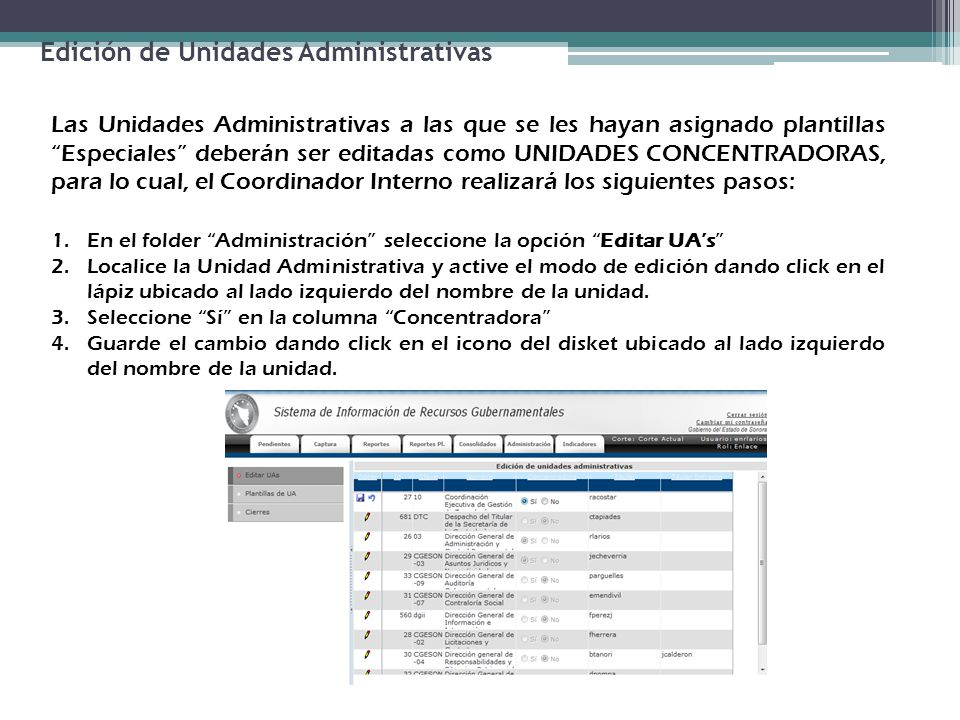 Edición de Unidades Administrativas Las Unidades Administrativas a las que se les hayan asignado plantillas Especiales deberán ser editadas como UNIDA