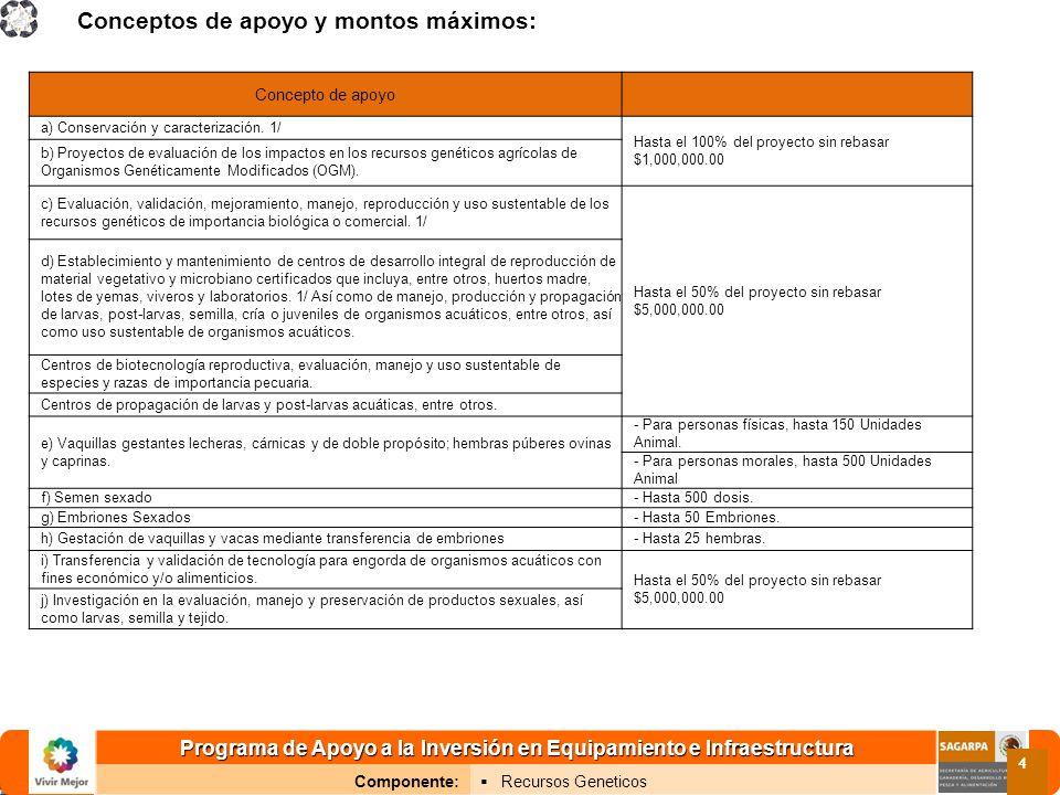 Programa de Apoyo a la Inversión en Equipamiento e Infraestructura Componente: Recursos Geneticos 4 Conceptos de apoyo y montos máximos: Concepto de apoyo a) Conservación y caracterización.