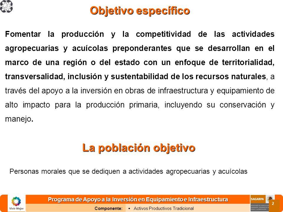 Programa de Apoyo a la Inversión en Equipamiento e Infraestructura Componente: Activos Productivos Tradicional 2 Objetivoespecífico Objetivo específic