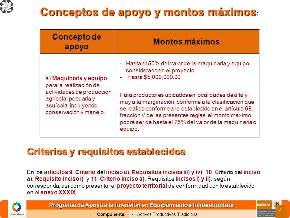 Programa de Apoyo a la Inversión en Equipamiento e Infraestructura Componente: Activos Productivos Tradicional 3 Conceptos de apoyo y montos máximos C