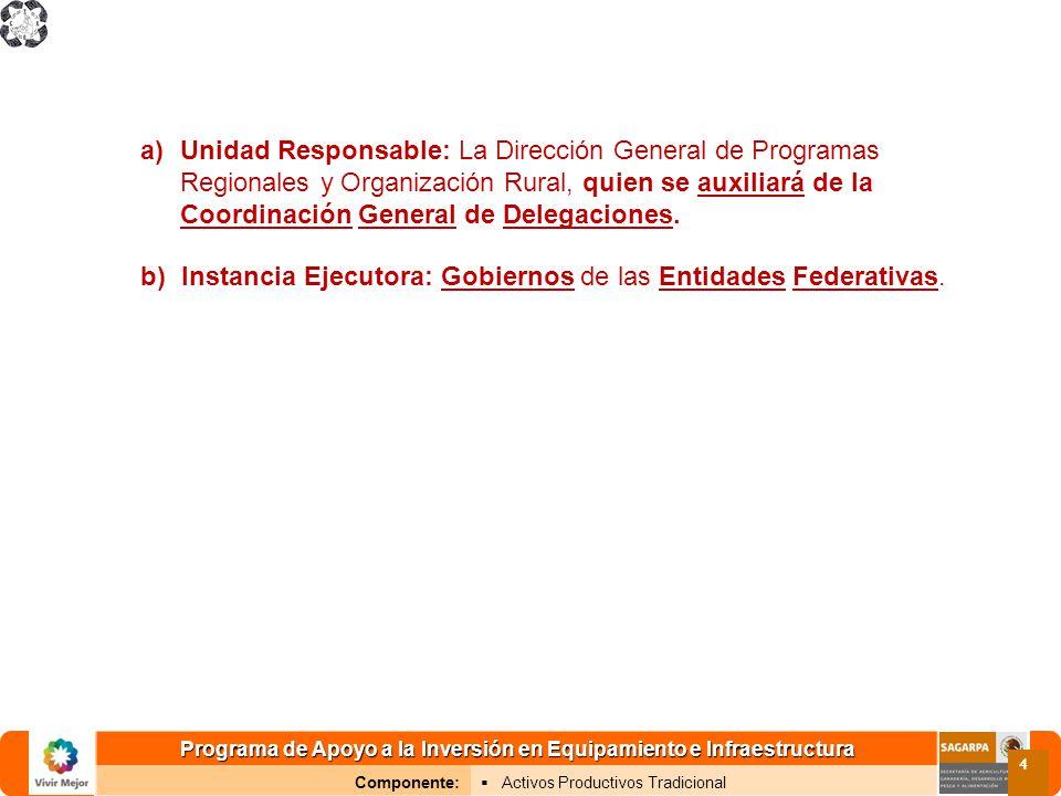 Programa de Apoyo a la Inversión en Equipamiento e Infraestructura Componente: Activos Productivos Tradicional 4 a)Unidad Responsable: La Dirección Ge