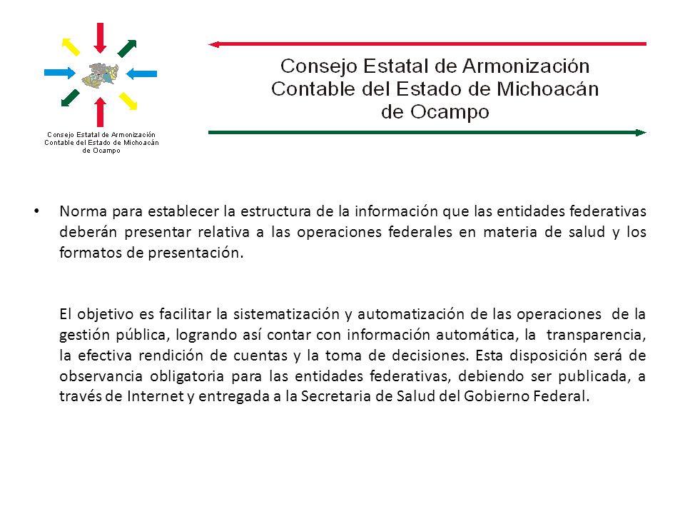 Norma para establecer la estructura de la información que las entidades federativas deberán presentar relativa a las operaciones federales en materia