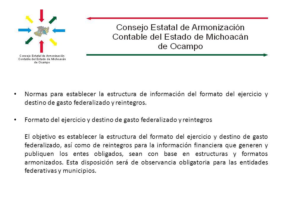 Normas para establecer la estructura de información del formato del ejercicio y destino de gasto federalizado y reintegros. Formato del ejercicio y de