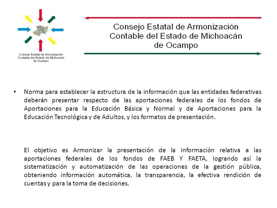 Norma para establecer la estructura de la información que las entidades federativas deberán presentar respecto de las aportaciones federales de los fo