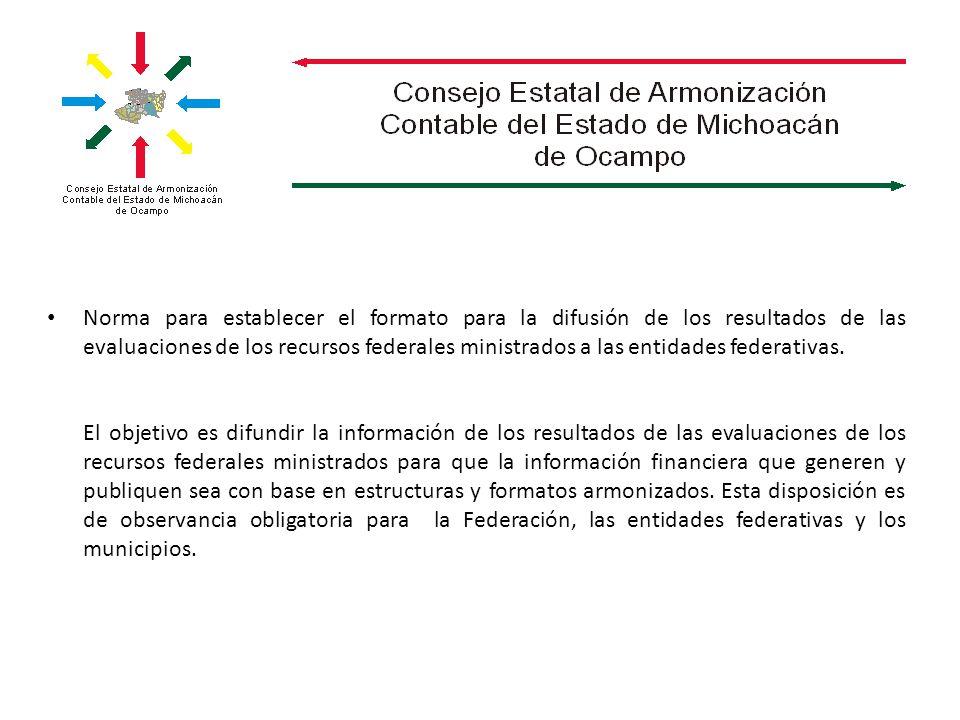 Norma para establecer el formato para la difusión de los resultados de las evaluaciones de los recursos federales ministrados a las entidades federati