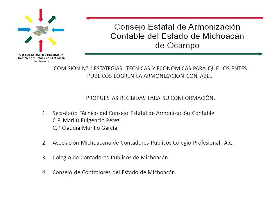COMISION N° 1 ESTATEGIAS, TECNICAS Y ECONOMICAS PARA QUE LOS ENTES PUBLICOS LOGREN LA ARMONIZACION CONTABLE. PROPUESTAS RECIBIDAS PARA SU CONFORMACIÓN