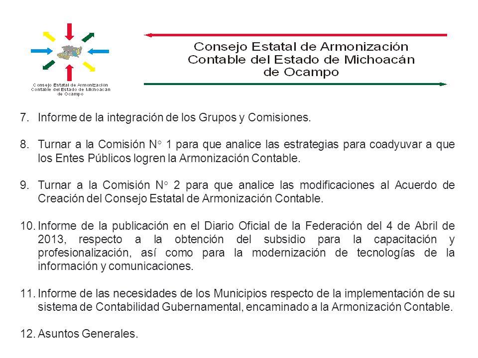 7.Informe de la integración de los Grupos y Comisiones. 8.Turnar a la Comisión N° 1 para que analice las estrategias para coadyuvar a que los Entes Pú