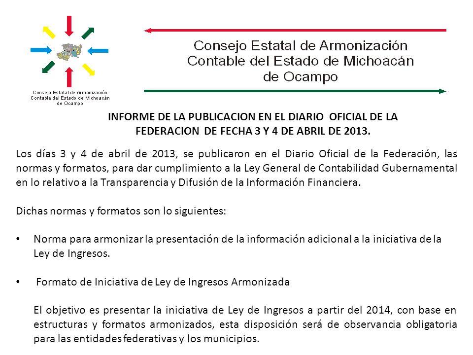 INFORME DE LA PUBLICACION EN EL DIARIO OFICIAL DE LA FEDERACION DE FECHA 3 Y 4 DE ABRIL DE 2013. Los días 3 y 4 de abril de 2013, se publicaron en el
