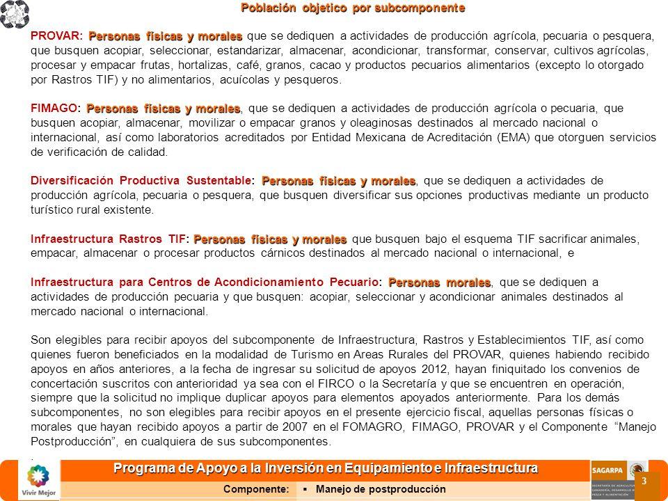 Programa de Apoyo a la Inversión en Equipamiento e Infraestructura Componente: Manejo de postproducción 3 Población objetico por subcomponente Persona