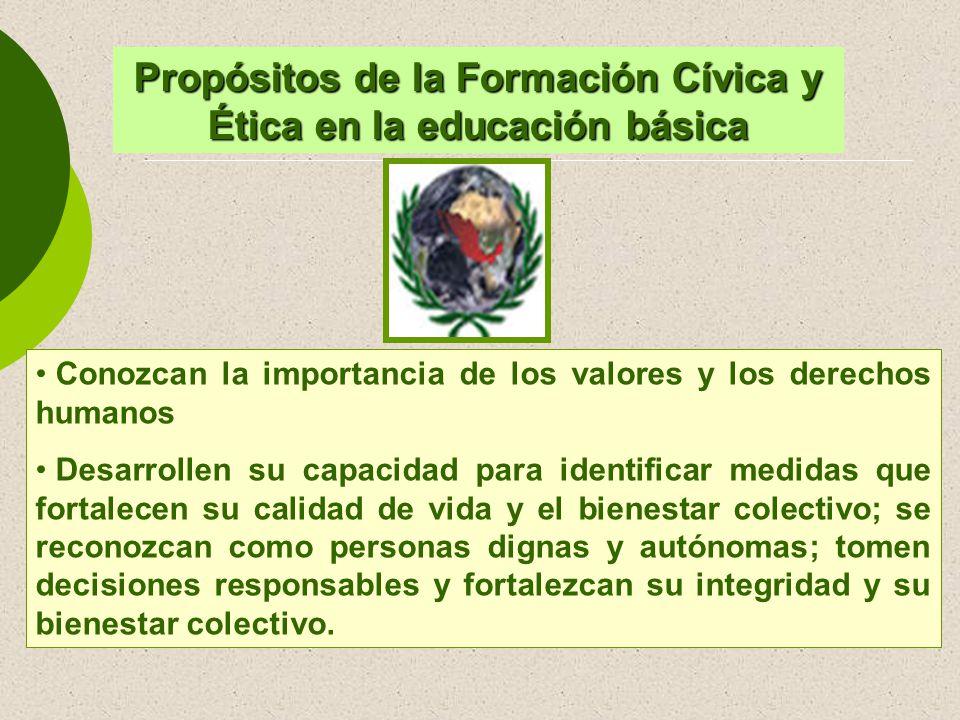 Propósitos de la Formación Cívica y Ética en la educación básica Conozcan la importancia de los valores y los derechos humanos Desarrollen su capacida