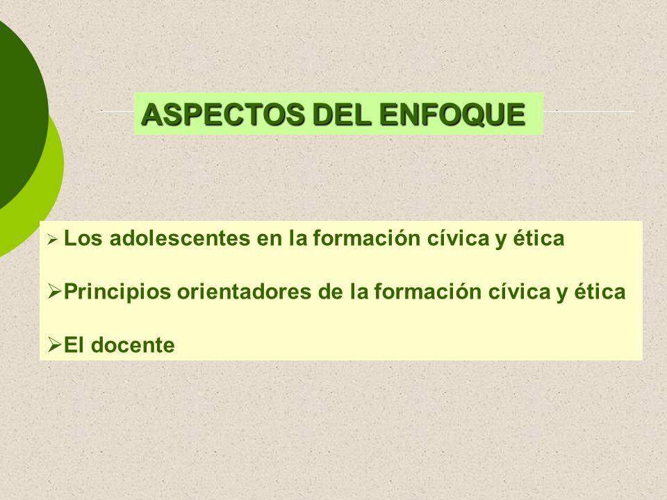 ASPECTOS DEL ENFOQUE Los adolescentes en la formación cívica y ética Principios orientadores de la formación cívica y ética El docente