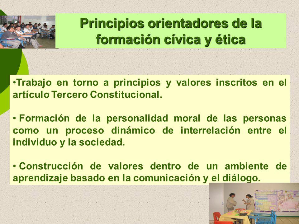 Trabajo en torno a principios y valores inscritos en el artículo Tercero Constitucional. Formación de la personalidad moral de las personas como un pr