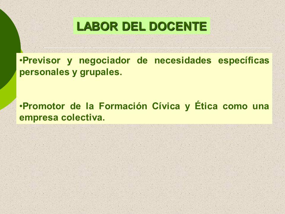 Previsor y negociador de necesidades específicas personales y grupales. Promotor de la Formación Cívica y Ética como una empresa colectiva. LABOR DEL