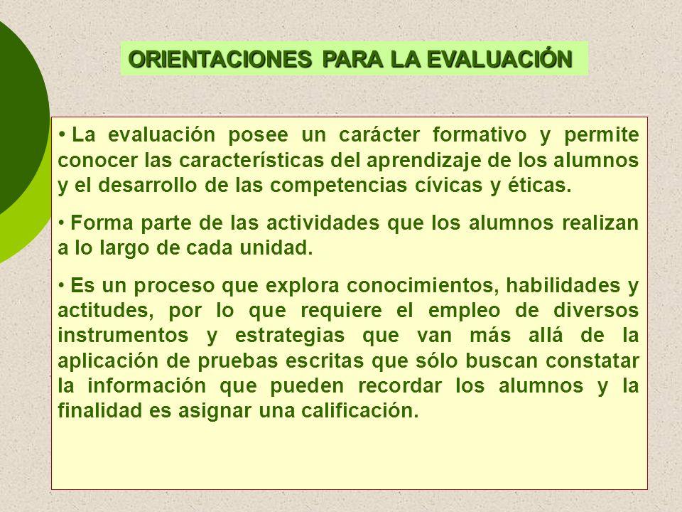 ORIENTACIONES PARA LA EVALUACIÓN La evaluación posee un carácter formativo y permite conocer las características del aprendizaje de los alumnos y el d