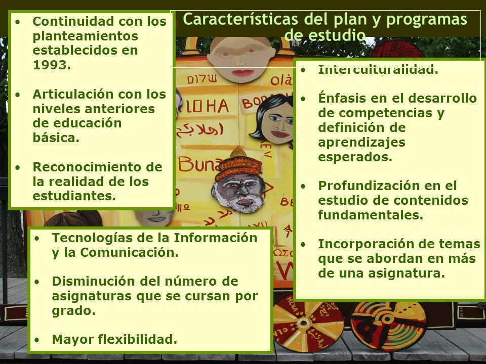 Continuidad con los planteamientos establecidos en 1993. Articulación con los niveles anteriores de educación básica. Reconocimiento de la realidad de