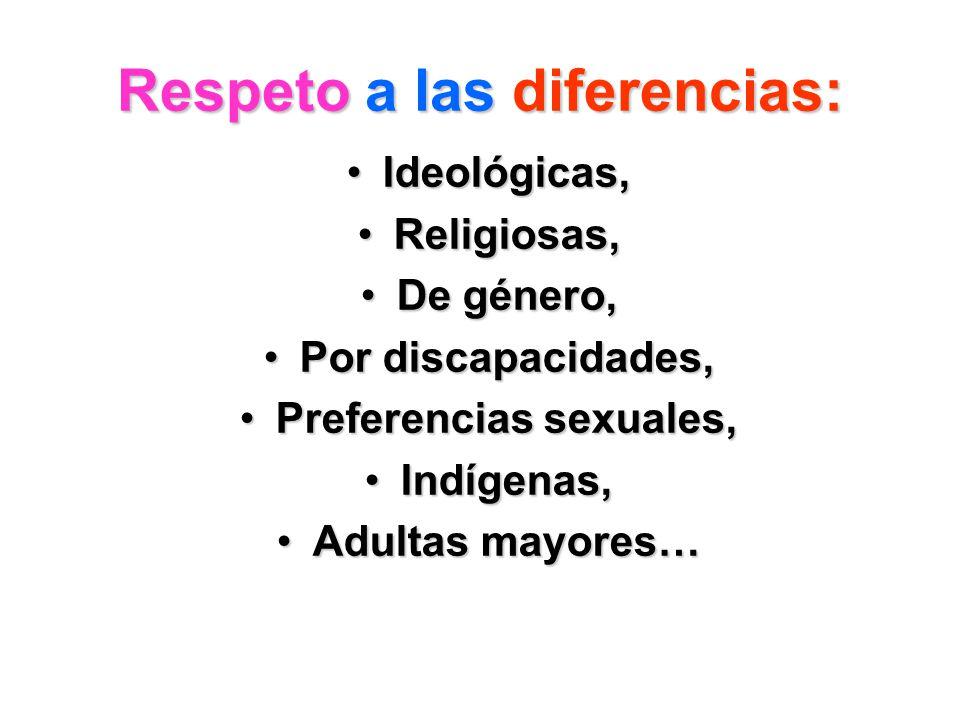 Respeto a lasdiferencias: Respeto a las diferencias: Ideológicas,Ideológicas, Religiosas,Religiosas, De género,De género, Por discapacidades,Por disca