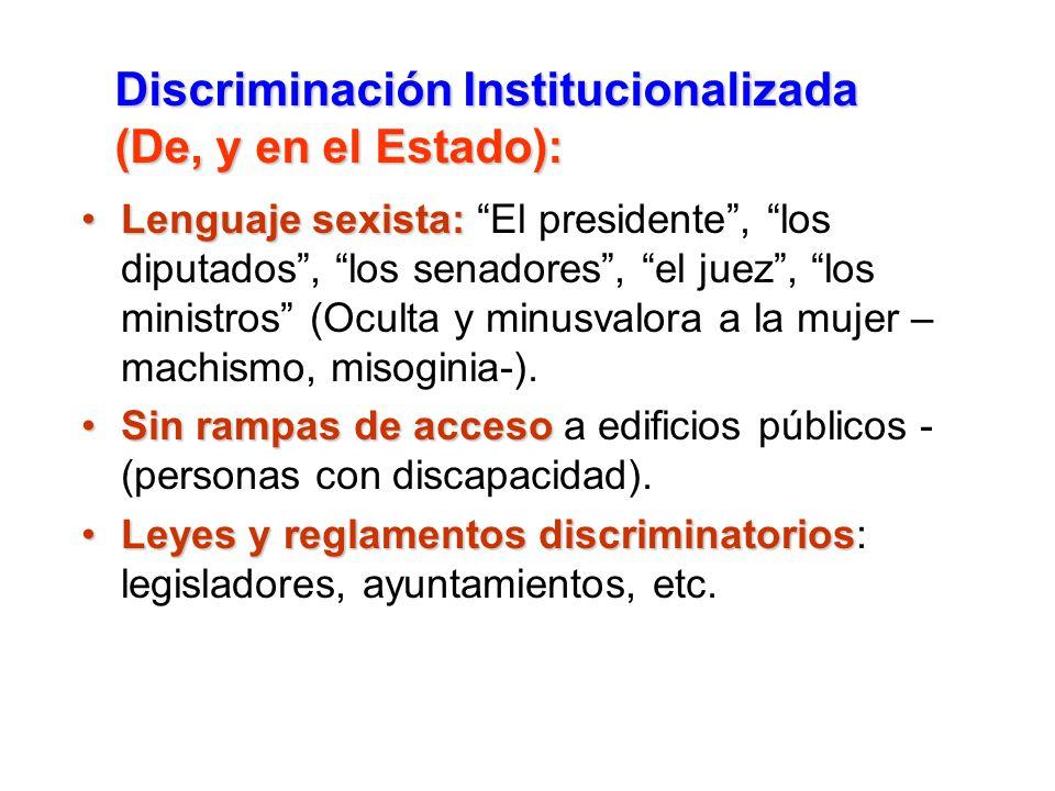 Lenguaje sexista:Lenguaje sexista: El presidente, los diputados, los senadores, el juez, los ministros (Oculta y minusvalora a la mujer – machismo, mi