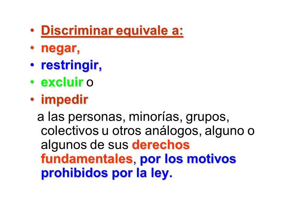 Discriminar equivale a:Discriminar equivale a: negar,negar, restringir,restringir, excluirexcluir o impedirimpedir derechos fundamentalespor los motiv
