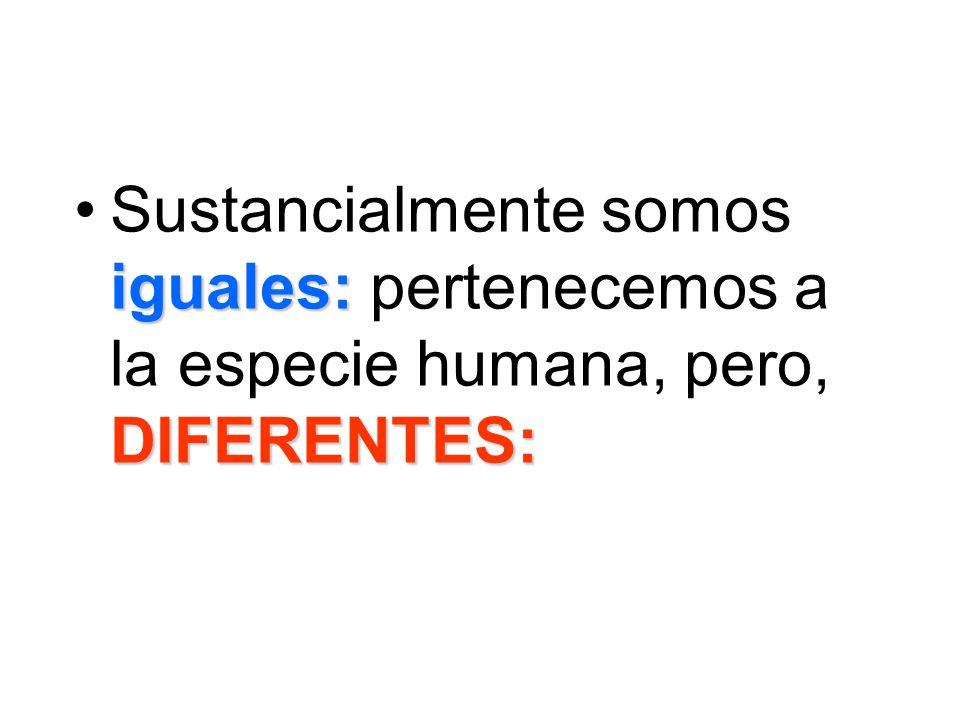 Sustancialmente somos iguales: pertenecemos a la especie humana, pero, DIFERENTES: