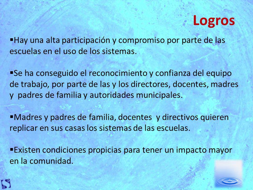 Logros Hay una alta participación y compromiso por parte de las escuelas en el uso de los sistemas.