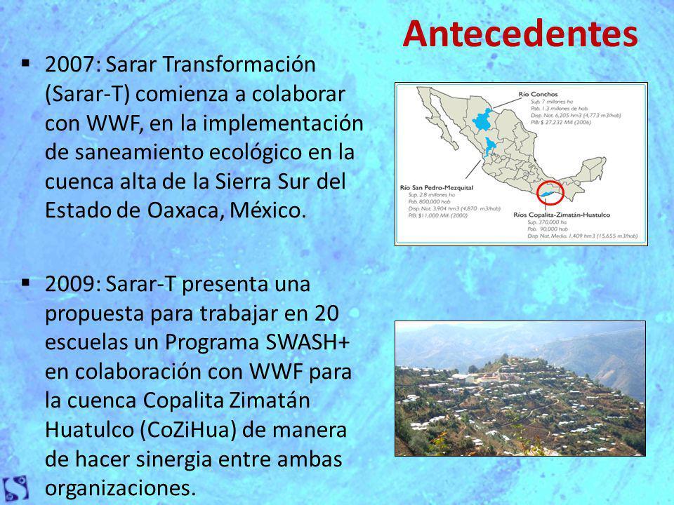 El Programa SWASH+ se está implementando en tres municipios : San Miguel Suchixtepec (SMS) San Pedro el Alto (SPA) San Marcial Ozolotepec (SMO).