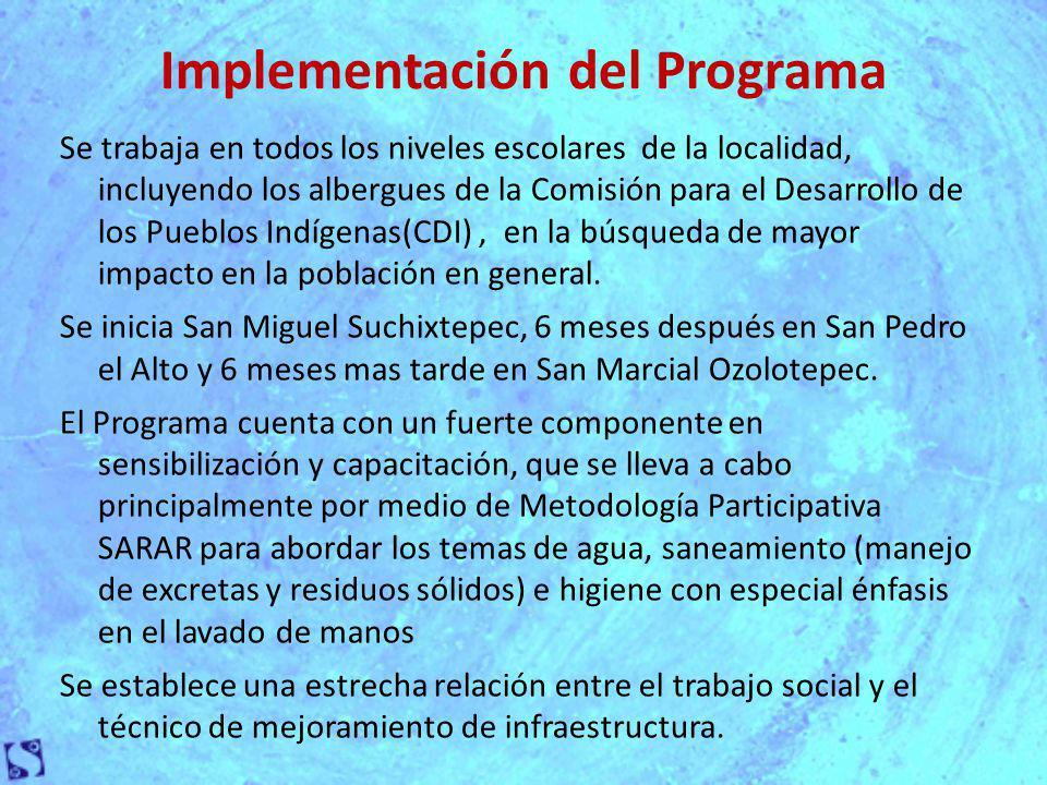 Implementación del Programa Se trabaja en todos los niveles escolares de la localidad, incluyendo los albergues de la Comisión para el Desarrollo de los Pueblos Indígenas(CDI), en la búsqueda de mayor impacto en la población en general.