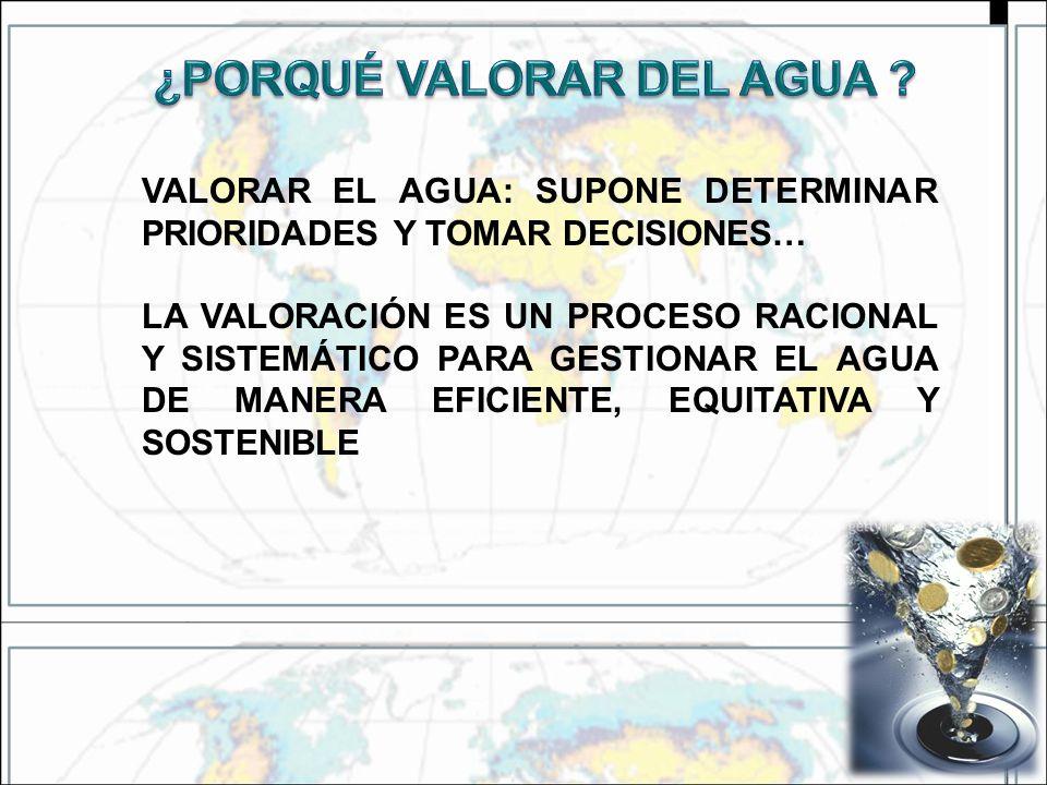 VALORAR EL AGUA: SUPONE DETERMINAR PRIORIDADES Y TOMAR DECISIONES… LA VALORACIÓN ES UN PROCESO RACIONAL Y SISTEMÁTICO PARA GESTIONAR EL AGUA DE MANERA